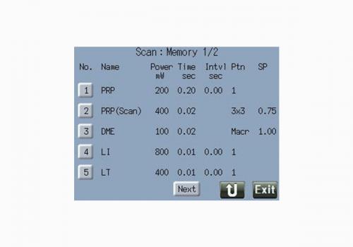 Exemple de mémorisation des paramètres de traitement